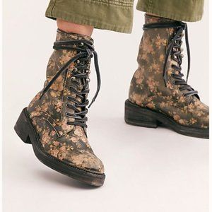 FREE PEOPLE Santa Fe Black Floral Lace Up Boots